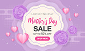 Mother's day sale vector illustration. Beautiful flowers and hearts paper art style on purple background.