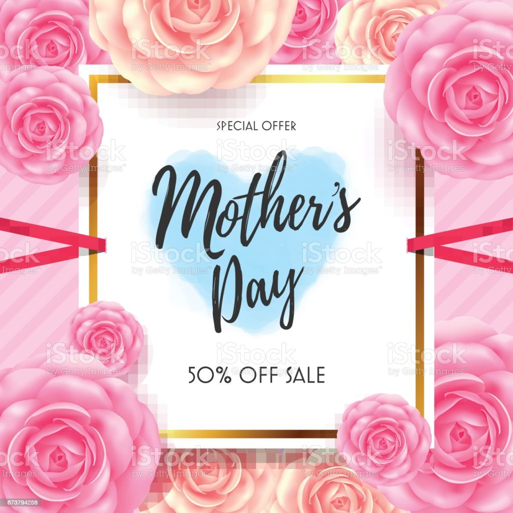 Mom Day Sale Ͽ� Seasonal A5 Flyer Template: Mothers Day Sale With Beautiful Flower For Greeting Card