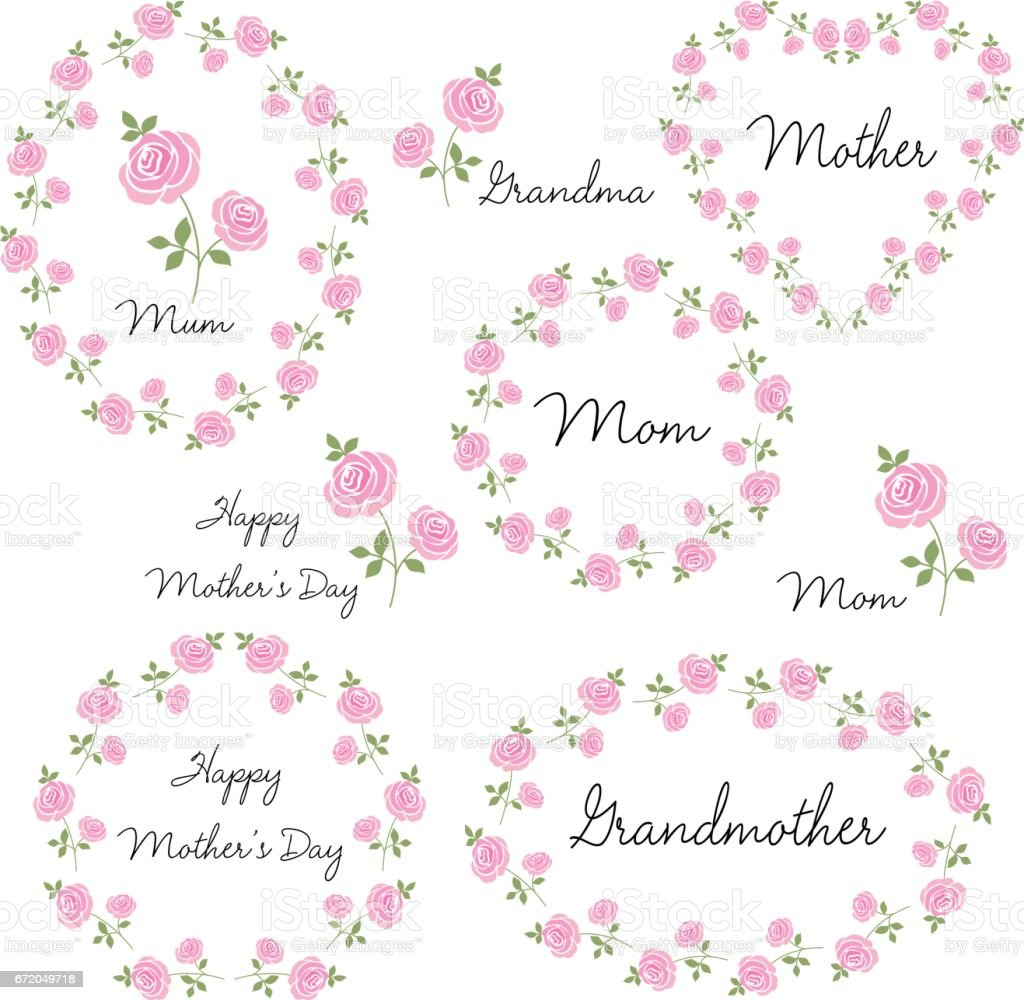 mothers day set with roses vector art illustration