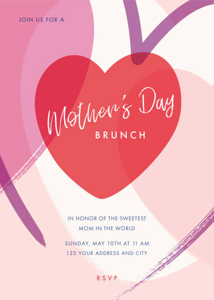Mothers Day themed invitation design template. stock illustration vector art illustration