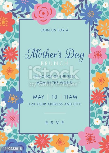 istock Mothers Day themed invitation design template. 1140533816
