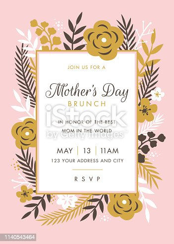 Mothers Day themed invitation design template - Illustration