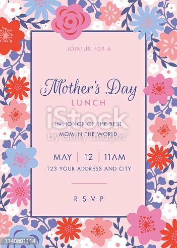 Mothers Day themed invitation design template. - Illustration