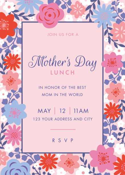 Mothers Day themed invitation design template. Mothers Day themed invitation design template. - Illustration brunch stock illustrations