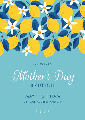 Mothers Day themed invitation design template.