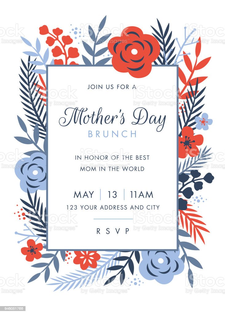 Mütter Tag Unter Dem Motto Einladung Designvorlage Stock Vektor Art ...
