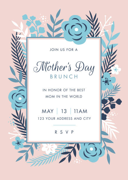 Mothers Day themed invitation design template Mothers Day themed invitation design template - Illustration brunch stock illustrations