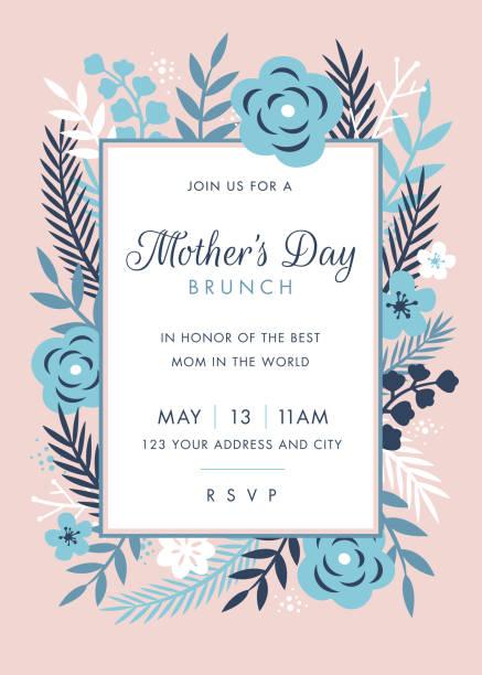 ilustraciones, imágenes clip art, dibujos animados e iconos de stock de plantilla de diseño de invitación con tema de día de madres - día de la madre
