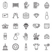 A thin line set of twenty five icons. Color swatches are global so it's easy to edit and change the colors.
