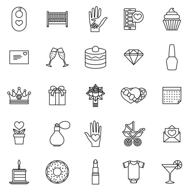 zum muttertag dünne linie-icon-set - elternhochzeitsgeschenke stock-grafiken, -clipart, -cartoons und -symbole