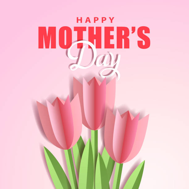 Mother's Day Tulips Paper Craft Celebrate the Mother's Day with bunch of tulips paper craft on the pink background anniversary silhouettes stock illustrations