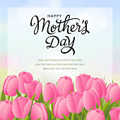 Send your mom the greeting card with blooming pink tulips flowers to celebrate happy Mother's Day