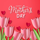 Celebrate the Mother's Day with bunch of tulips and hearts paper craft on the red background