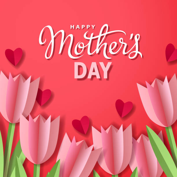 Mother's Day Tulips with Hearts Celebrate the Mother's Day with bunch of tulips and hearts paper craft on the red background anniversary silhouettes stock illustrations