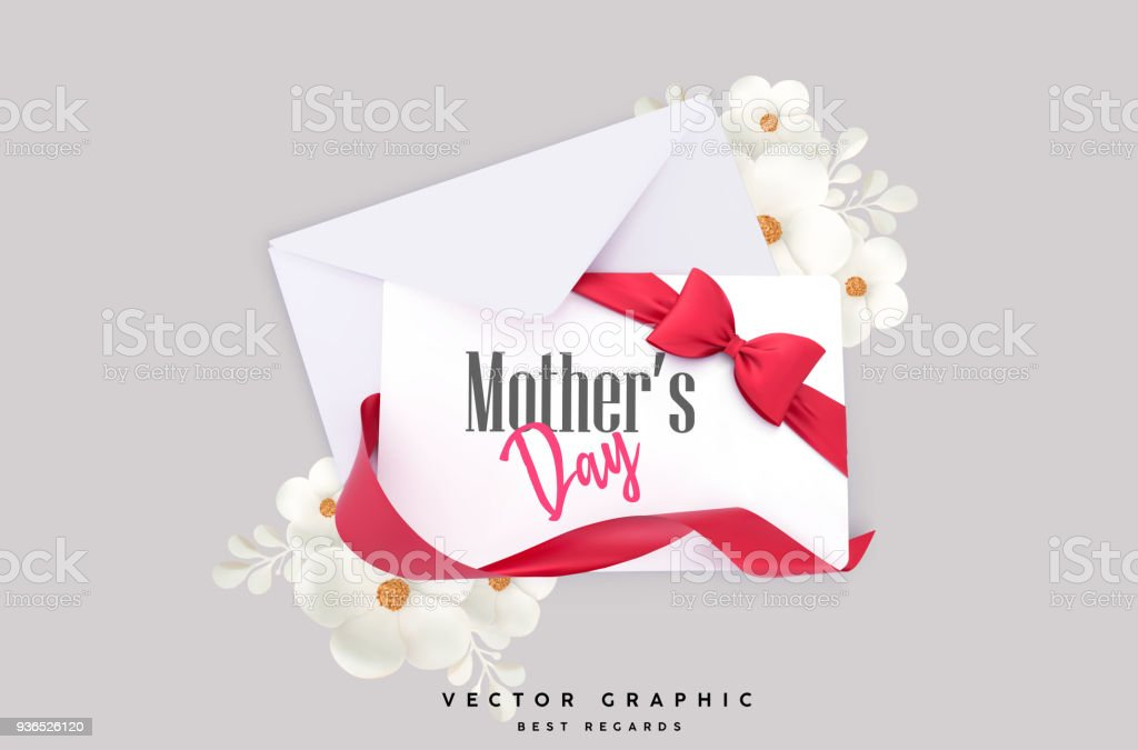 Mother's Day vector concept, gift card and envelope vector art illustration