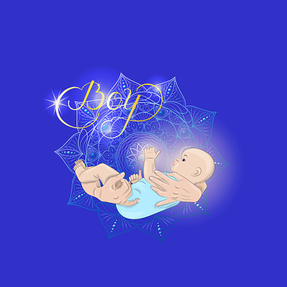 Mother's hands are holding a newborn baby boy. Postcard with handwritten lettering. Calligraphy in gold ink. Vector isolated illustration of a cute kid.