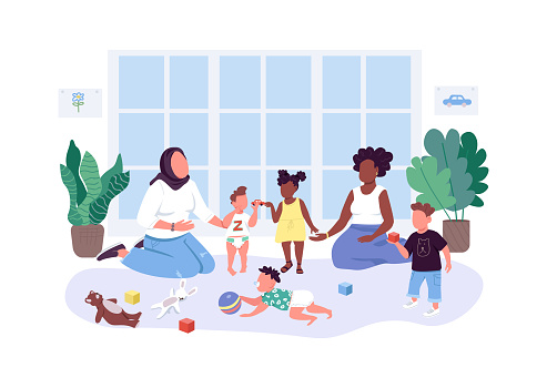 Mothers help mothers flat color vector faceless characters