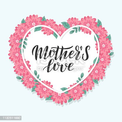 istock Mother's love lettering card. 1132511692