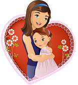 Vector illustration of a mother hugging her daughter with a heart shape in background. High resolution jpg file included.