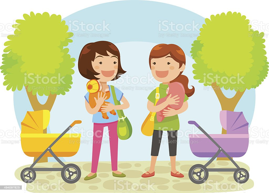 mothers with babies vector art illustration