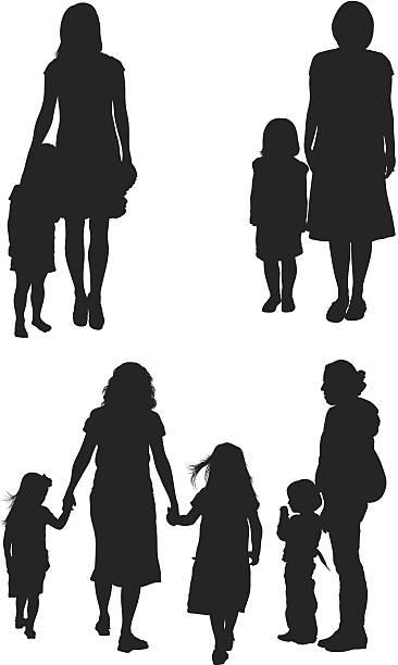 ilustraciones, imágenes clip art, dibujos animados e iconos de stock de las madres y sus hijos - hija