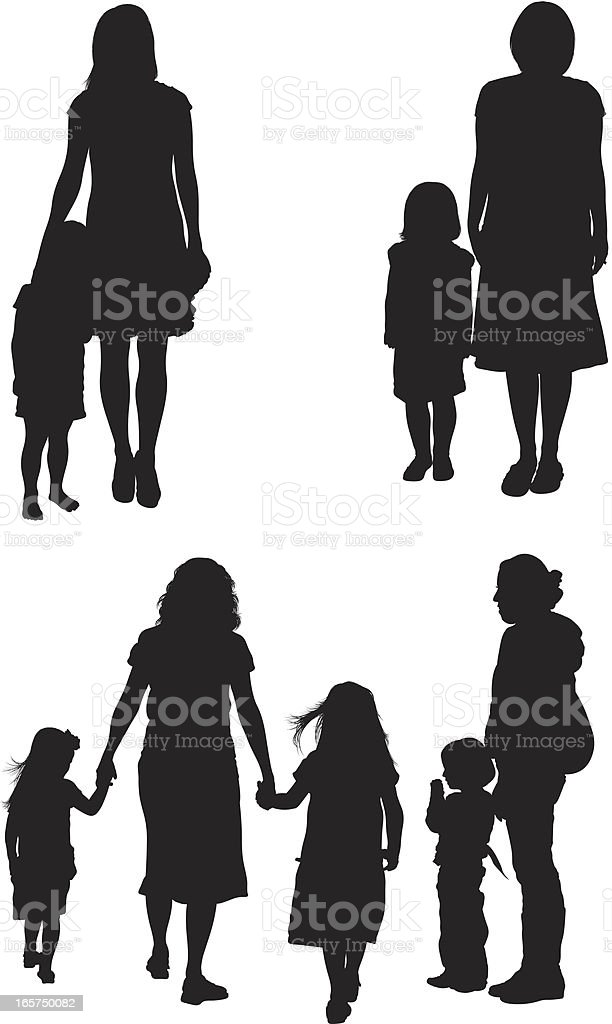 Mothers with their children vector art illustration