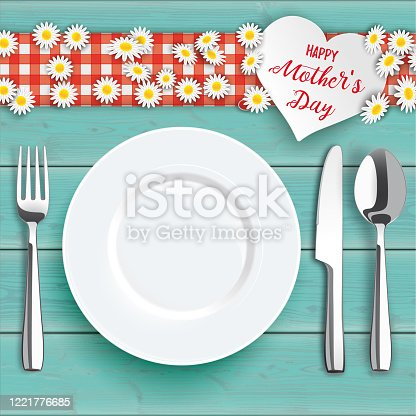 istock Mothersday Turquoise Wood Daisy Flowers Knife Fork Spoon Plate 1221776685