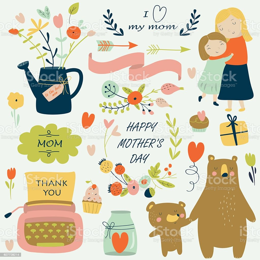 mothersdaybrightcolor vector art illustration