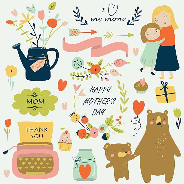 mothersdaybrightcolor - elternhochzeitsgeschenke stock-grafiken, -clipart, -cartoons und -symbole
