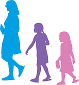 Vector illustration of a mother walking with her two daughters behind her.
