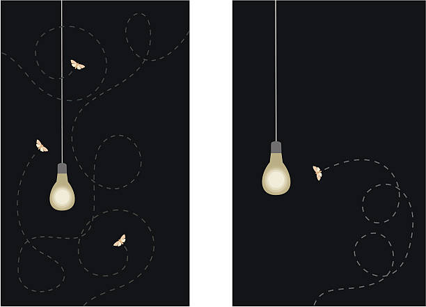 stockillustraties, clipart, cartoons en iconen met moths and lightbulb - mot