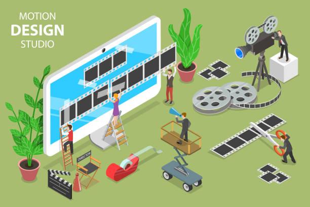 Motion design studio isometric flat vector concept. Isometric flat vector concept of motion design studio, video editor app, creating video online. performing arts event stock illustrations