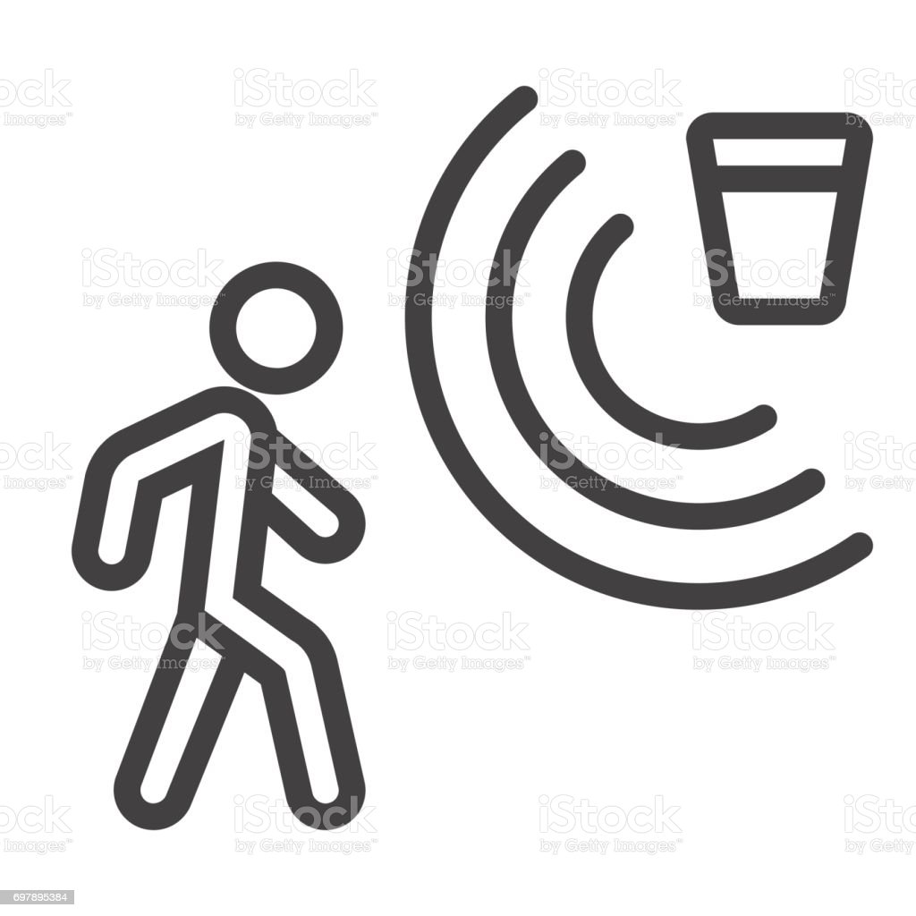 Motion detector line icon, security and guard, vector graphics, a linear pattern on a white background, eps 10. vector art illustration
