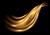 Motion golden wave. Isolated abstract trail, track with light effect. Vector transparent element on black backgraund
