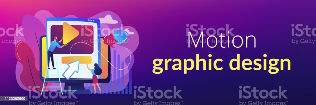 Motion Graphic Design Concept Banner Header Stock Illustration