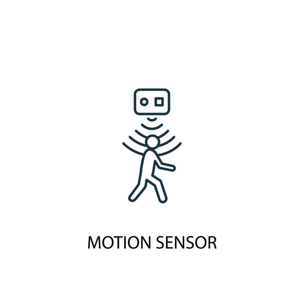 motion sensor concept line icon. Simple element illustration motion sensor concept line icon. Simple element illustration. motion sensor concept outline symbol design from Smart home set. Can be used for web and mobile UI/UX infrared stock illustrations