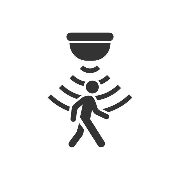 illustrazioni stock, clip art, cartoni animati e icone di tendenza di motion sensor icon in flat style. sensor waves with man vector illustration on white isolated background. people security connection business concept. - sensore