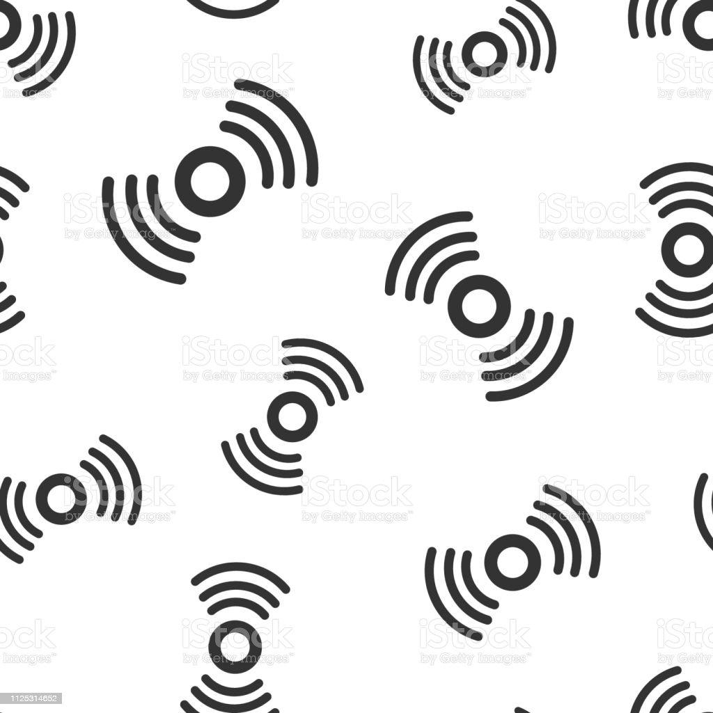 Motion sensor icon seamless pattern background. Sensor waves vector illustration. Security connection symbol pattern.