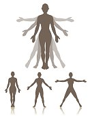 A woman standing in three different positions that are part of the motions involved in exercising or moving.  A large character is shown with silhouettes behind in the two other positions, with arms being raised and legs and feet spreading out.  Also three characters in each position alone.