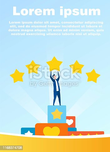 Cartoon Man Character Receiving Five Stars. Best Rating and Performance Estimate. Successful Social Media Marketing. Positive People Feedback and Comments. Motivate Banner. Vector Flat Illustration