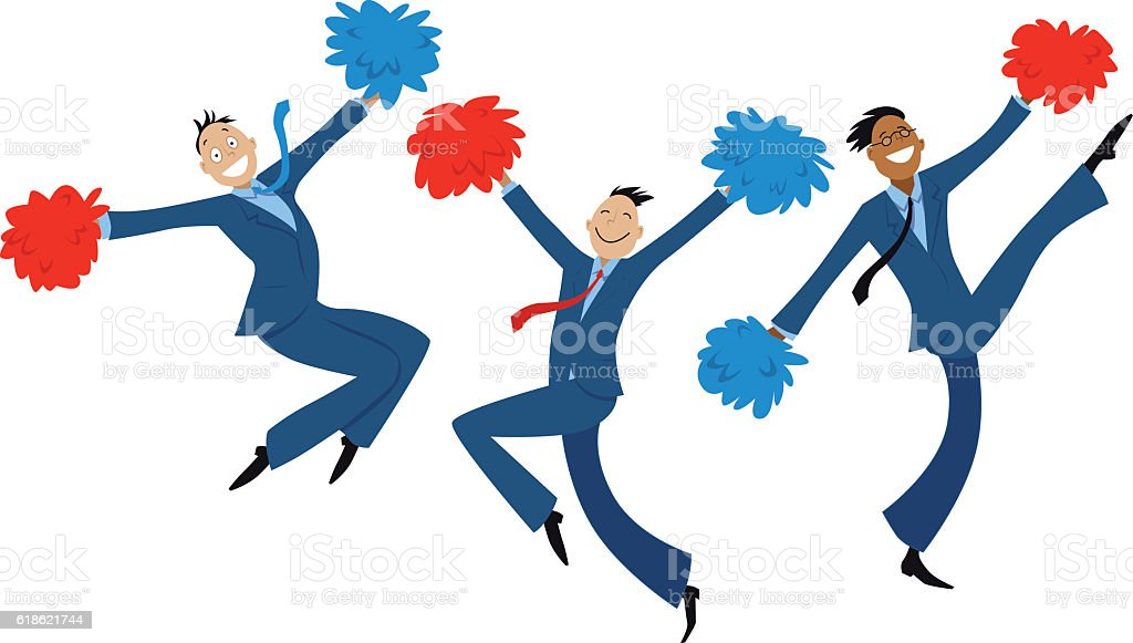 Cartoon businessmen doing cheer-leading routine as a metaphor for...