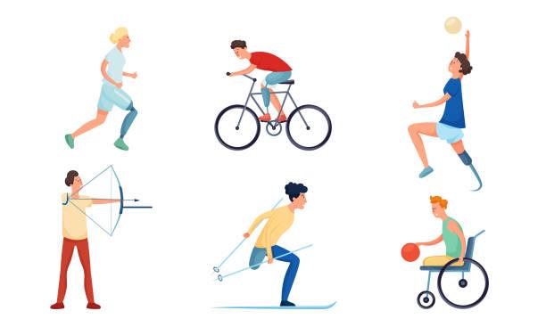激勵女孩和男孩殘疾或殘疾人做運動載體插圖 - 健康科技 幅插畫檔、美工圖案、卡通及圖標