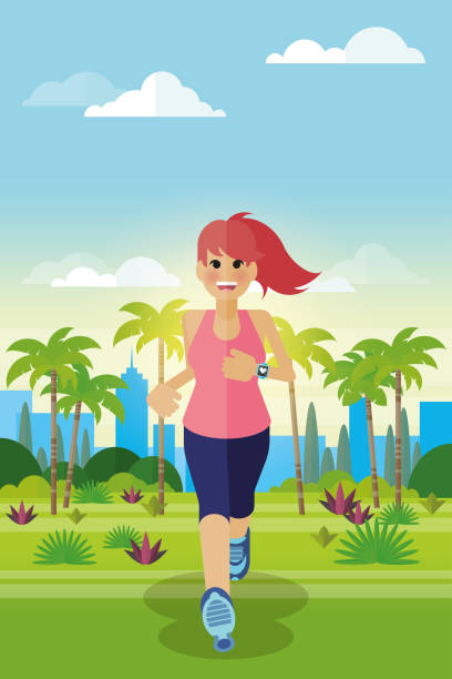 motivated jogging with smartwatch - redhead stock illustrations, clip art, cartoons, & icons