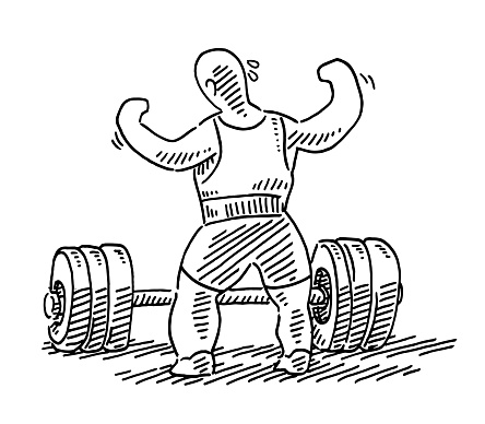 Motivated Weightlifter Preparing Drawing