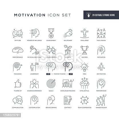 29 Motivation Icons - Editable Stroke - Easy to edit and customize - You can easily customize the stroke width