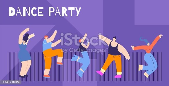 Motivation Flat Horizontal Card Text Dance Party Freedom Take Life Max Concept Cartoon Happy Girl Boy Dancing Clubbing Singing Song Having Fun Vector Style Illustration Inspirational Banner Template