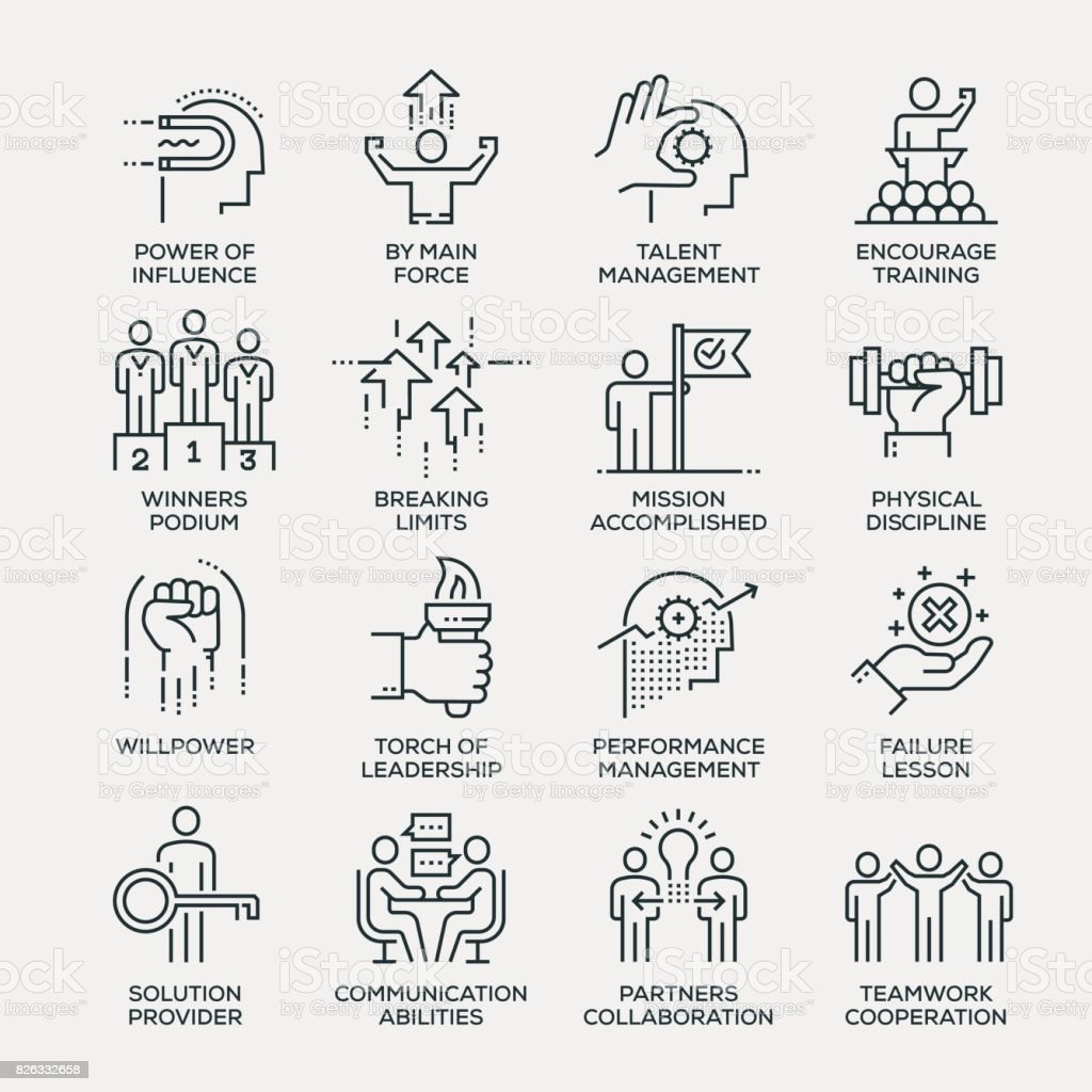 Motivation Icon Set - Line Series vector art illustration