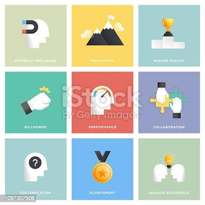 Motivation Icon Set Flat Design