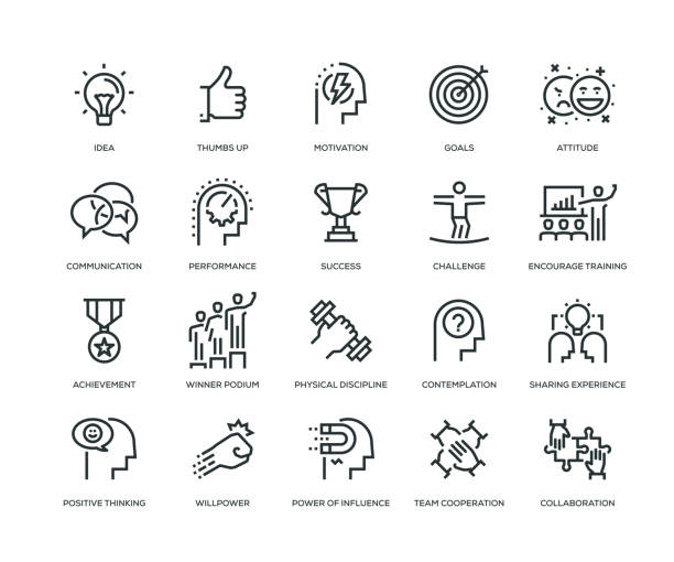 motivation icons - line series - autorytet stock illustrations