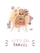 Motivation Inspirational quote. 'Let's go travel' card with doodle rooster.